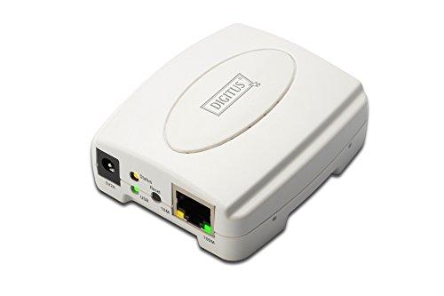 DIGITUS USB 2.0 Fast Ethernet Print Server, 1-Port, 1x USB A, 1x RJ45, weiß