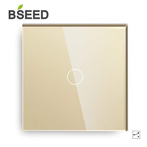 BSEED Touch Lichtschalter 1 Fach 2 Wege Glas Lichtschalter Gold Led Touch Schalter Touchscreen Funktioniert mit LED Lampe EU Standard