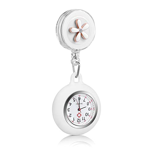 Hemobllo Retractable Nurse Watch Portable Pocket Watch Clip On Watch Cute Leaves Watch with Second Hand for Doctor White
