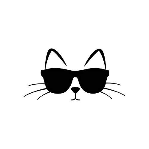 Jinling 14cm * 7.2cm Gafas de Sol de Gato Fresco con Pose de Vinilo Pegatina de Coche Cat Pet Pet Amor Black SILLADO (Color : 1)