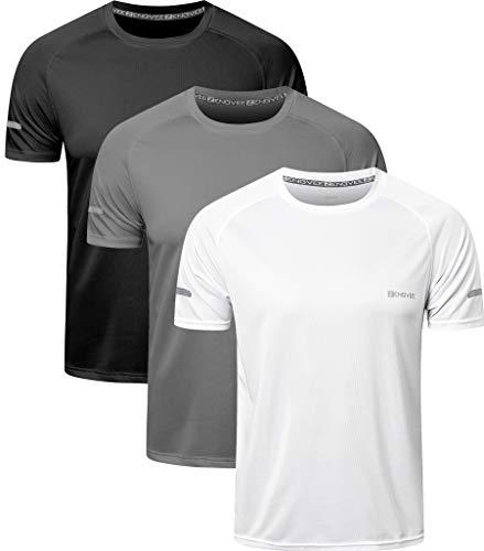 HUAKANG 3 Piezas T-Shirts de Manga Corta Camiseta Hombre de Secado Rápido Ropa Deportiva Hombre para Correr (Black Grey White-L)