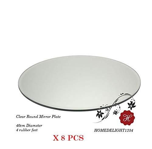 Homedelight Spiegelplatte, für Tisch, rund, 40 cm Durchmesser, 8 Stück
