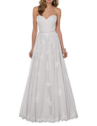 HUINI Abiti da Sposa Boho Abito da Sposa Pizzo con Spalle Lunghe A Line Tulle Train Sweetheart Bridal Gown Bianco 42