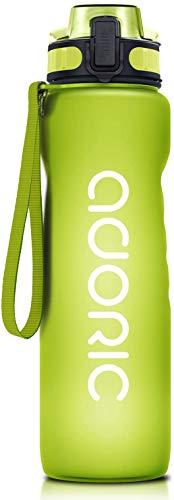 ADORIC Borraccia Sportiva, Bottiglia d'Acqua Sportiva da Palestra con Filtro - No BPA tossica con Cerniera Coperchio (Verde)