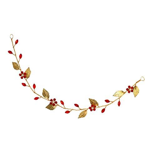 sharprepublic Diadema de Pelo de Flores Rojas y Hojas con Pedrería Tocado Tiara de Novia Accesorios de Dsifraces Cosplay