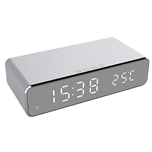 BGJ Reloj Despertador LED eléctrico con teléfono Cargador inalámbrico Termómetro Digital de...