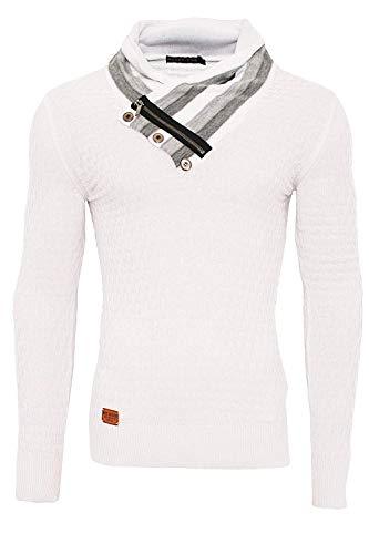 Redbridge Herren Winter Pullover Feinstrick Stehkragen Sweatshirt (S, Weiß)
