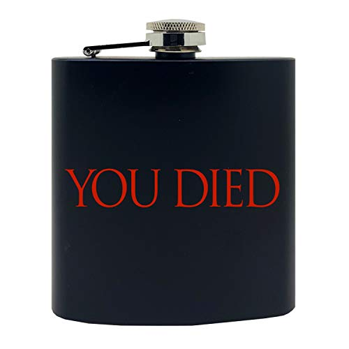Crown Souls of the Dark'You Died' Game Inspired Design Stainless Steel Alcohol Flask, 6 Oz, Black