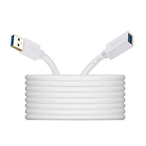 White USB30 Extension Cable 20ft VCZHS USB 30 Extension Cable USB30 Cable A Male to A Female for USB Flash Drive Card Reader Hard Drive KeyboardPlaystation Xbox Oculus VR Printer Camera