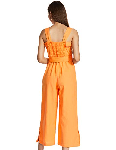 Amazon Brand - Eden & Ivy Women's Cotton Midi Jumpsuit (EISS20DR018-F-S_Orange_Small)