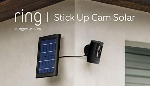 Ring Stick Up Cam Solar, videocamera di sicurezza in HD, con comunicazione bidirezionale, compatibile con Alexa   Colore nero