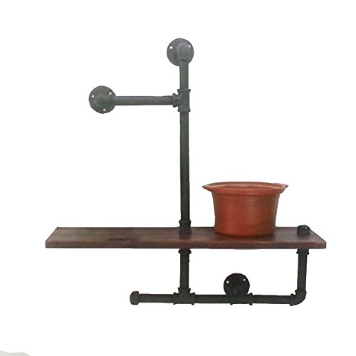 zwj Wand-Regale Holz Wasserpfeifen Form Multi-Funktions-Display Stand Schlafzimmer Topfpflanzen Bücher Lagerung Retro industriellen 60X20X65cm