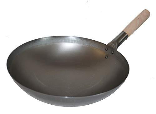 AAF Nommel ® Wok ca. 38 cm Ø runder Boden für Gas, Induktionsmulde, Gastronomie Wokpfanne Carbon Stahl