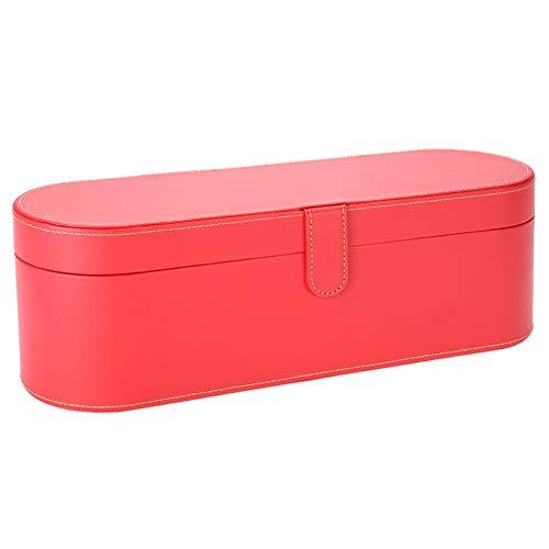 Boîte de rangement de sèche-cheveux en cuir d'unité centrale de mode, sac de voyage antichoc à l'épreuve de l'humidité pour le sèche-cheveux(rouge)