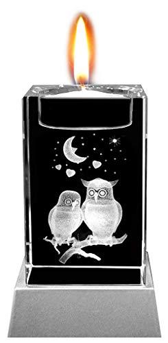 Kaltner Präsente Sfeerlicht LED kaars/kristal glazen blok / 3D-lasergravure theelichthouder verliefde uilen