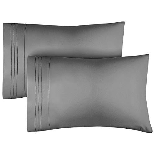 FENRIR Set de 2 Fundas de Almohada de Microfibra Lisa, Fundas de Almohada de 100% algodón Fibra Larga Las Fundas de Almohada Manchas con Cierre de sobre (Gris 50x75 cm)