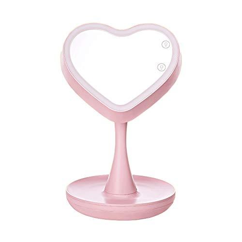 Raelf Moda creativa LED maquillaje espejo lámpara de mesa portátil dormitorio escritorio niña princesa vestidor espejo lámpara de escritorio multifunción ambiente romántico luces atenuación noche
