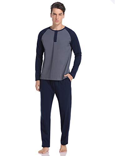 Hawiton Pijamas Hombre Invierno Algodón Conjunto de Pijama