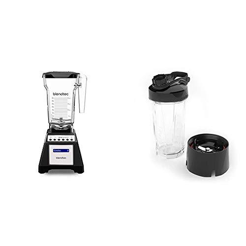 Blendtec Total Classic Countertop Blender, 75 oz, FourSide Jar Black & GO Cup (34 oz), Travel Bottle, Reusable Single Serve Blender Cup, Travel Lid, BPA-free Jar, Clear