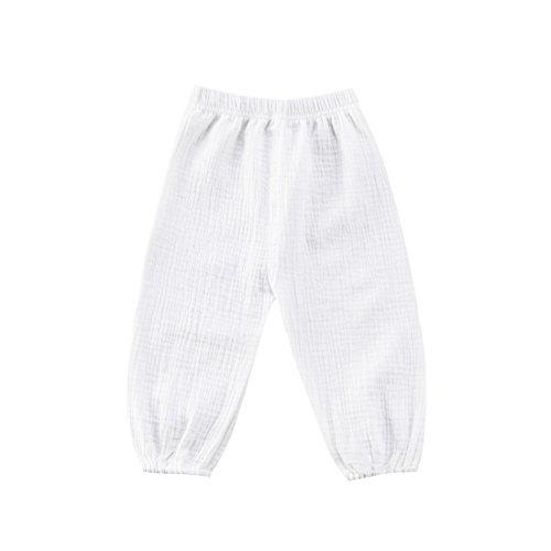 Geagodelia Pantaloni alla Moda per Bambini Harem Pantaloni da Bambino in Cotone Arricciato retrò Pantaloni (Bianco, 6-12m)