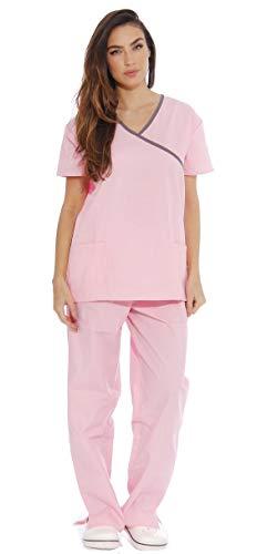 11140W Just Love Women's Scrub Sets / Medical Scrubs / Nursing Scrubs - M, Light Pink with Steel Grey Trim,Light Pink With Steel Grey Trim,Medium