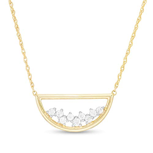 SLV 1/5 CT. T.W. Clear D/VVS1 Diamond Scatter Open Half Circle Necklace In 10K Yellow Gold Plated 925 Silver