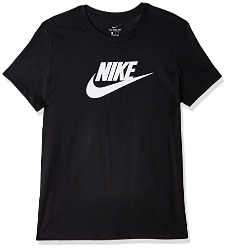 Nike Damen W NSW Tee ESSNTL ICON Futura T-Shirt, Black/(White), L