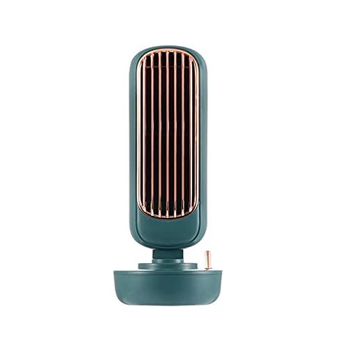 Enfriador de aire personal portátil, 3 velocidades, suministro USB, ventilador de torre silencioso de 220 ml, mini ventilador multifuncional de escritorio para el hogar (Verde,10.9×10.9×29.3cm)