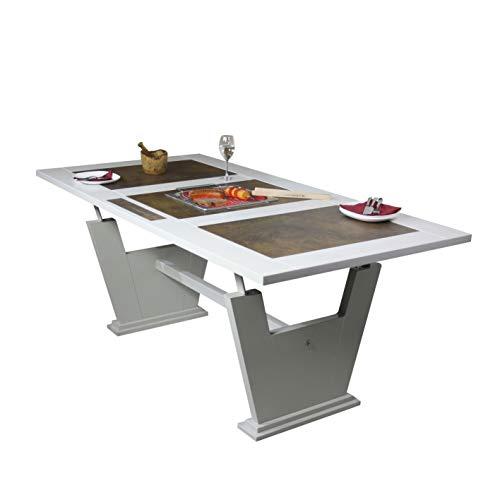BBQ-Door - Grilltisch mit integriertem Edelstahlgrill u. Deckel, Einbaugrill, Tischgrill, Holzkohlegrill