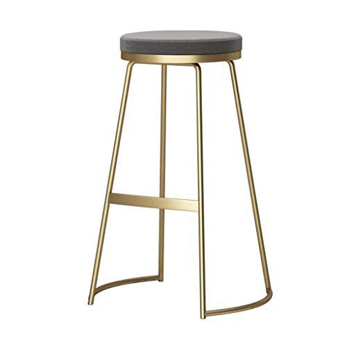WWW-DENG barkruk, keuken, barkruk, zonder rugleuning, grijs, kussen van goudkleurig fluweel, frame van metaal, zithoogte 29,5 inch, keuken, koffie, barkruk