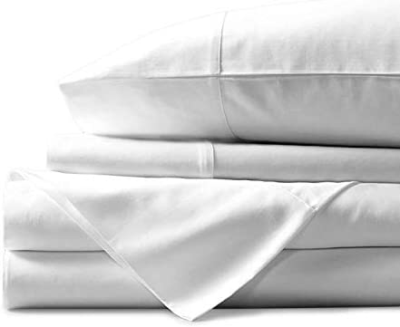 """Mayfair Linen 100% Egyptian Cotton Sheets, White Queen Sheets Set, 600 Thread Count Long Staple Cotton, Sateen Weave for Soft and Silky Feel,Fits Mattress Upto 18"""" DEEP Pocket"""
