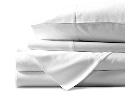 Mayfair Linen 100% Egyptian Cotton Sheets, White Queen Sheets Set, 600 Thread Count Long Staple Cotton, Sateen Weave for Soft and Silky Feel,Fits Mattress Upto 18'' DEEP Pocket