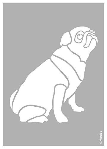 Marabu 0283000000017 - Schablone, lasergeschnittene, strapazierfähige Schablone, PVC frei, zur Anwendung auf Wänden, Möbeln und Textilien, wieder verwendbar, DIN A4, Pug Dog