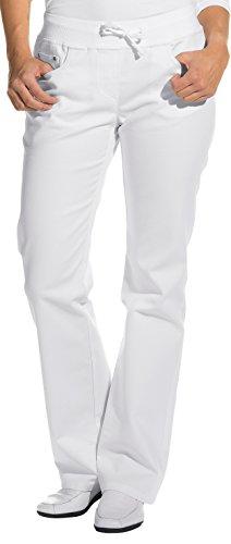clinicfashion 10613010 Stretch Jeans Hose Damen weiß, elastisches Rippstrickbündchen mit Kordeltunnelzug, Langgröße, Baumwolle, Größe 36L