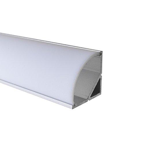OPAL - 200 cm LED Aluminium Profil ECKE-RUND + 200 cm weiß milchige Abdeckung für LED-Streifen Alu von Alumino®