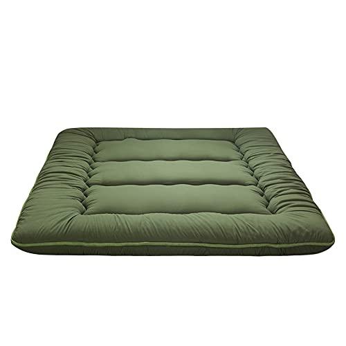 Japanese Floor Mattress Futon Mattress Full Size Memory Foam, Thicken Tatami Mat Sleeping Pad Foldable Roll Up Mattress Guest Mattress Pad Floor Lounger Bed, Green