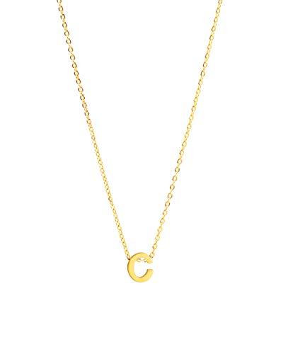 ILLISIO Tiny Letter Necklace | Damen Halskette aus Edelstahl | personalisierte Kette mit kleinem Buchstaben Anhänger (8mm) in Gold, Silber oder Roségold | Kettenlänge 46cm (C, Gold)