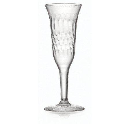 Flairware Juego DE 16 Elegantes Copas de Champán de plástico Duro Transparente - Diseño Ondulado - 1 Pieza de Cristal - 140 ML - para cenas y Eventos