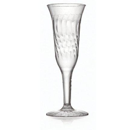 Flairware Juego DE 16 Elegantes Copas de Champán de plástico Duro Transparente – Diseño Ondulado – 1 Pieza de Cristal – 140 ML – para cenas y Eventos