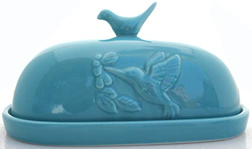 JBK Pottery Hummingbird Butter Dish - Teal