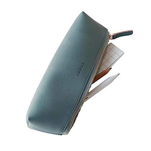 Fyore Luxus PU Leder Federmäppchen Klein Dreieck Design Mäppchen für Schule Universität Kosmetik Make up (Blau)