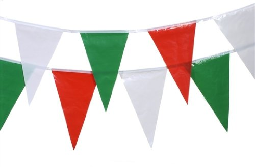 19278 - PAPSTAR - Wimpelkette 4 m grün, weiß, rot wetterfest