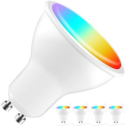 Bombilla LED Inteligente WiFi GU10 Color RGBW Regulable por App 6W 600lm Conexión por WLAN Sin Hub App para iOS y Android