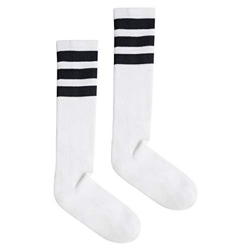 American Apparel Unisex-Erwachsene Stripe Calf-High Socken, weiß/schwarz, Einheitsgröße