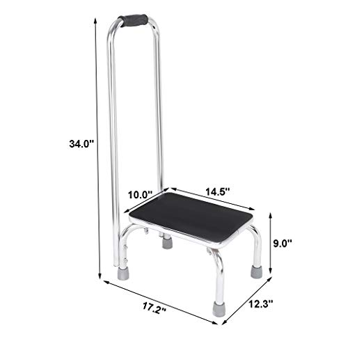 Step Stool with Handle | Heavy Duty Bariatric Footstool with Handrail and Non Skid Rubber Platform,Metal Stepping Stool Support Ladder for Adults and Seniors (from US, Silver)