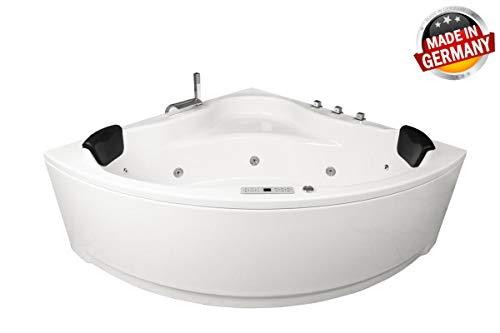 Whirlpool Badewanne Karibik Profi MADE IN GERMANY 140 x 140 oder 150 x 150 cm mit 21 Massage Düsen + Unterwasser Beleuchtung / Licht + Heizung + Ozon Desinfektion + MIT Messing Armature