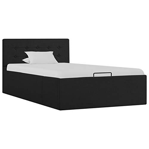WooDlan Hydraulisches Bett mit Stauraum, Stoff, Dunkelgrau, 90 x 200 cm