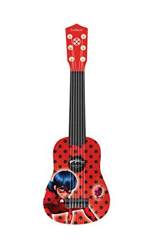 Lexibook-K200MI Lexibook Miraculous Ladybug Mi Primera Guitarra para niñas, 6 cuerdas de nylon, 53 cm, guía incluida, Rojo/Negro, Color (K200MI)
