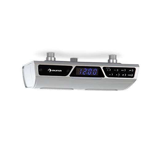 auna Intelligence - Radio de Cocina con Bluetooth, Radio bajo Mueble, WiFi, Control de Voz Alexa, Función multisala, Fácil de Montar en armarios, Manos Libres, Material de Montaje, Plateado