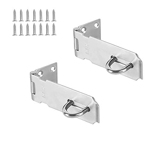 Paquete de 2 cerraduras de puerta, 3 pulgadas de acero inoxidable 304 de seguridad Packlock cerrojo de bloqueo de puerta, cerrojo de 1,98 mm de grosor con tornillos de acabado cepillado